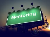 Mentoring - Billboard on the Sunrise Background.