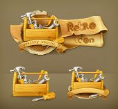 picture of trowel  - Wooden toolbox vector icon - JPG