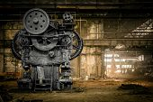 stock photo of machine  - Old Metallurgical Firm Waiting For A Demolition - JPG