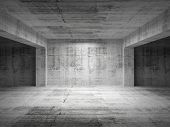 picture of 3d  - Empty dark abstract concrete room perspective interior - JPG