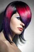 picture of hair dye  - portrait of a beautiful girl with dyed hair professional hair coloring - JPG