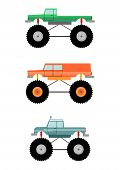picture of monster-truck  - Cartoon monster truck silhouette on a white background - JPG