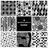 stock photo of intersection  - beautiful set of black and white geometric patterns - JPG