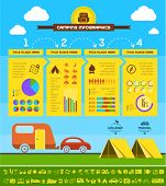 picture of motorhome  - Flat Camping Infographic Elements plus Icon Set - JPG