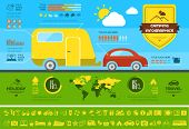 Flat Camping Infographic Elements plus Icon Set. Vector EPS 10.