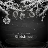 stock photo of cone  - Christmas hand drawn fur tree for Xmas design - JPG