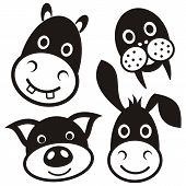 stock photo of donkey  - Cute black cartoon pig donkey hippo walrus faces - JPG