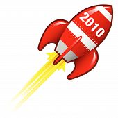 image of missles  - 2010 year icon on red retro rocket ship illustration good for use as a button in print materials or in advertisements - JPG