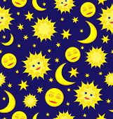 Sun, Moon, And Stars Celestial Seamless Pattern Vector Background