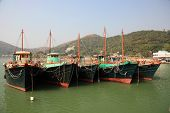 stock photo of lantau island  - Fishing boats in Tai O village - JPG