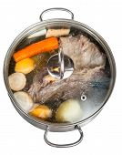 Simmer Of Beef Broth In Steel Pan