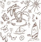 stock photo of summer fun  - Full page of fun hand draw doodles on a summer theme - JPG