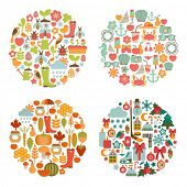 stock photo of fall decorations  - set of seasonal round cards - JPG