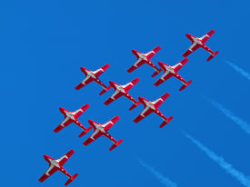 image of snowbird  - Canadian Snowbirds fighter planes flying in formation - JPG