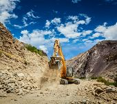 pic of jammu kashmir  - Excavator doing road construction in Himalayas - JPG