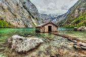 stock photo of dock a lake  - High dynamic range  - JPG