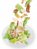 picture of caesar salad  - Caesar salad with chicken and greens - JPG
