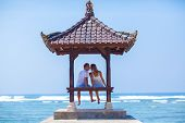 image of gazebo  - Lovely Couple in Gazebo near the Ocean - JPG