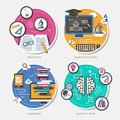 stock photo of online education  - set of flat design vector illustration for education online education e - JPG