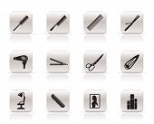 hairdressing, coiffure and make-up icons poster