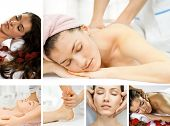picture of massage therapy  - a young beautiful girl is being massaged - JPG