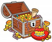 pic of treasure chest  - Big treasure chest on white background  - JPG