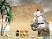 stock photo of pirate  - Pirate ship holding black Jolly Roger flag floating on the ocean toward an island showing treasure box by cloudy sunset with seagulls flying and old map - JPG