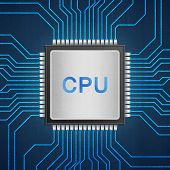 stock photo of cpu  - the isolated paper cut of cpu chip on blue circuit is central processor technology in circuit computer on motherboard - JPG