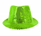 stock photo of vaudeville  - one festively shining green hat full face on white background - JPG