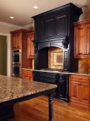 foto of mixing faucet  - Model Luxury Home Interior Kitchen mixed tone cabinets and table - JPG