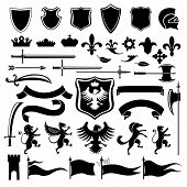 image of queen crown  - Heraldic medieval vintage set black decorative icons set with crown shield arabesque isolated vector illustration - JPG