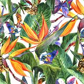 stock photo of butterfly  - Tropical seamless pattern with exotic flowers and butterflies - JPG