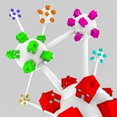 image of overpopulation  - Several spheres containing houses of different colors all connected in a network - JPG