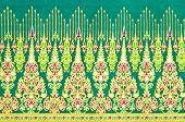 image of batik  - close up pattern texture of general traditional thai style native handmade batik fabric weave - JPG