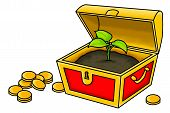 picture of treasure  - An illustration of a plant inside a treasure chest - JPG