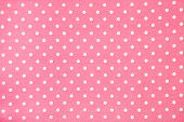 stock photo of poka dot  - background of pink kitchen towel with poka dots - JPG
