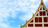 picture of buddhist  - The Buddhist Art of Pavilion and Blue Cloundy Sky at a Public Buddhist Temple - JPG
