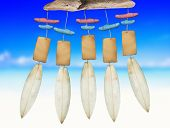 stock photo of chimes  - Beach Wind Chime with Copy Space - JPG