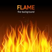 foto of fiery  - Burning hot flame campfire strokes realistic fire on dark background vector illustration - JPG