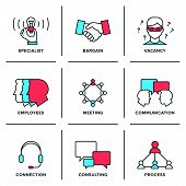 stock photo of communication people  - Flat line icons set of business meeting professional occupation company consulting people communication and deal agreement - JPG