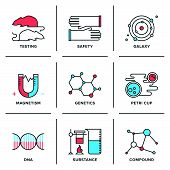stock photo of gene  - Flat line icons set of science research genetics evolution experiment DNA molecular structure laboratory protection scientific testing - JPG