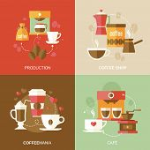 pic of sugar industry  - Coffee icons flat with production shop cafe vector illustration - JPG