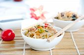image of chinese parsley  - bowl of noodles with vegetables Chinese noodles