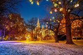 stock photo of weihnachten  - Vienna Town Hall and park decorated for Christmas - JPG