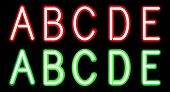 picture of neon green  - Vector Red and Green Neon alphabet - JPG
