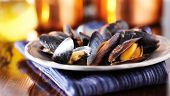 stock photo of freshwater fish  - mussels in white wine garlic sauce panorama - JPG