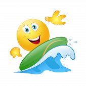 stock photo of emoticons  - Surfing emoticon on blue wave ocean - JPG