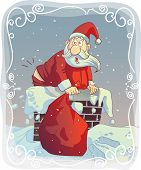 image of farting  - Vector cartoon of a funny Santa trying to fit the chimney
