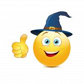 picture of witch ball  - Emoticon with witch hat on a white background - JPG