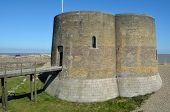 picture of martello  - Martello Tower Napolionic denfenses on Aldeburgh Beach - JPG